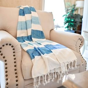 Other - Beach Style Blanket Rustic Farmhouse Blue Stripes